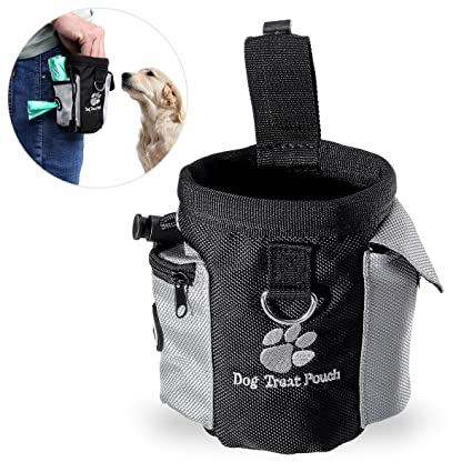 UEETEK Perro tratamiento de cintura bolsa bolso manos libre mascota perro entrenamiento alimentos bolsa de cintura con dispensador de bolsa caca ...