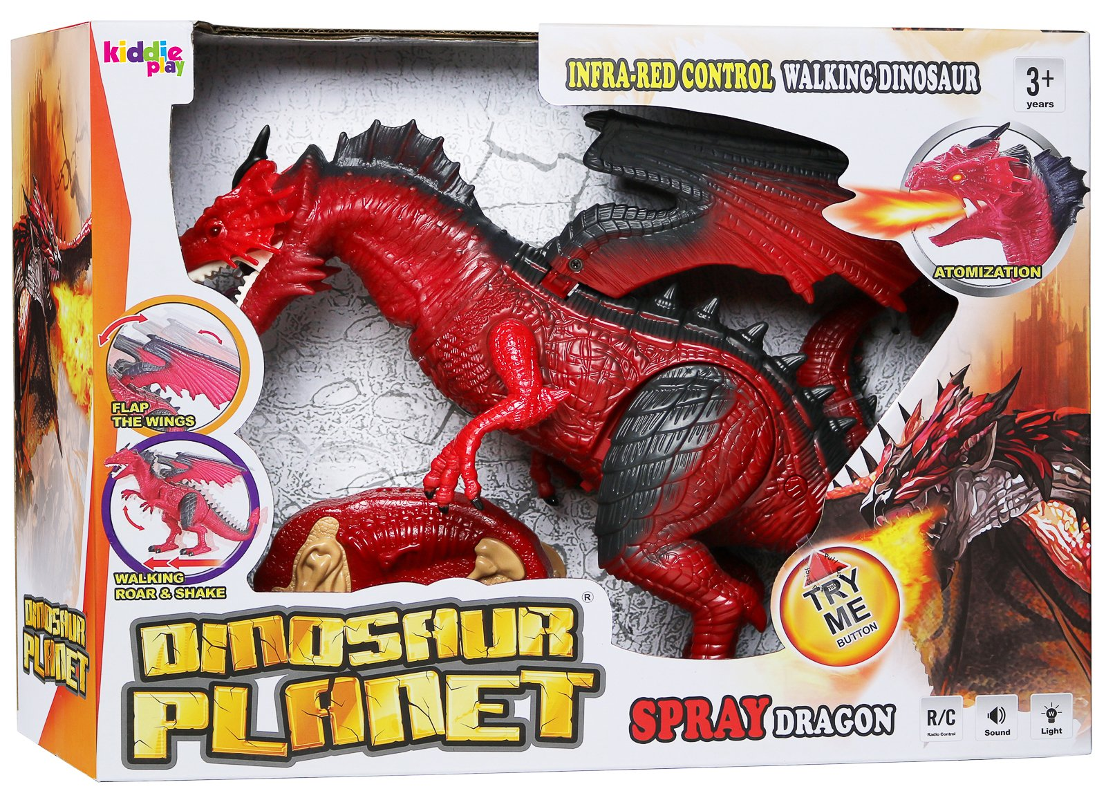 Kiddie Play Remote Control Dinosaur Toy Smoke Breathing and Walking Dragon with Lights and Sounds        by Kiddie Play (Image #5)