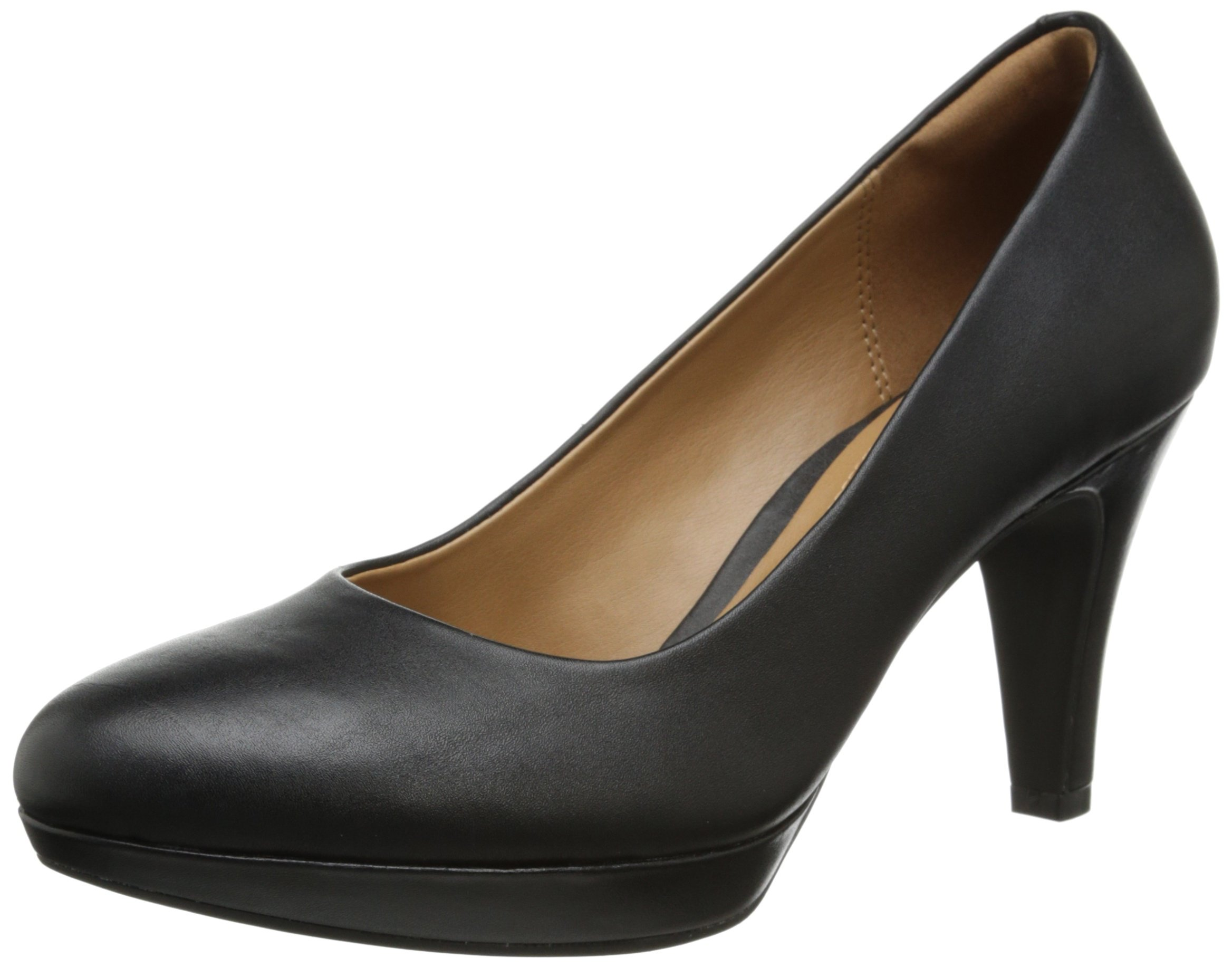 CLARKS Women's Brier Dolly Dress Pump, Black Leather, 7.5 M US
