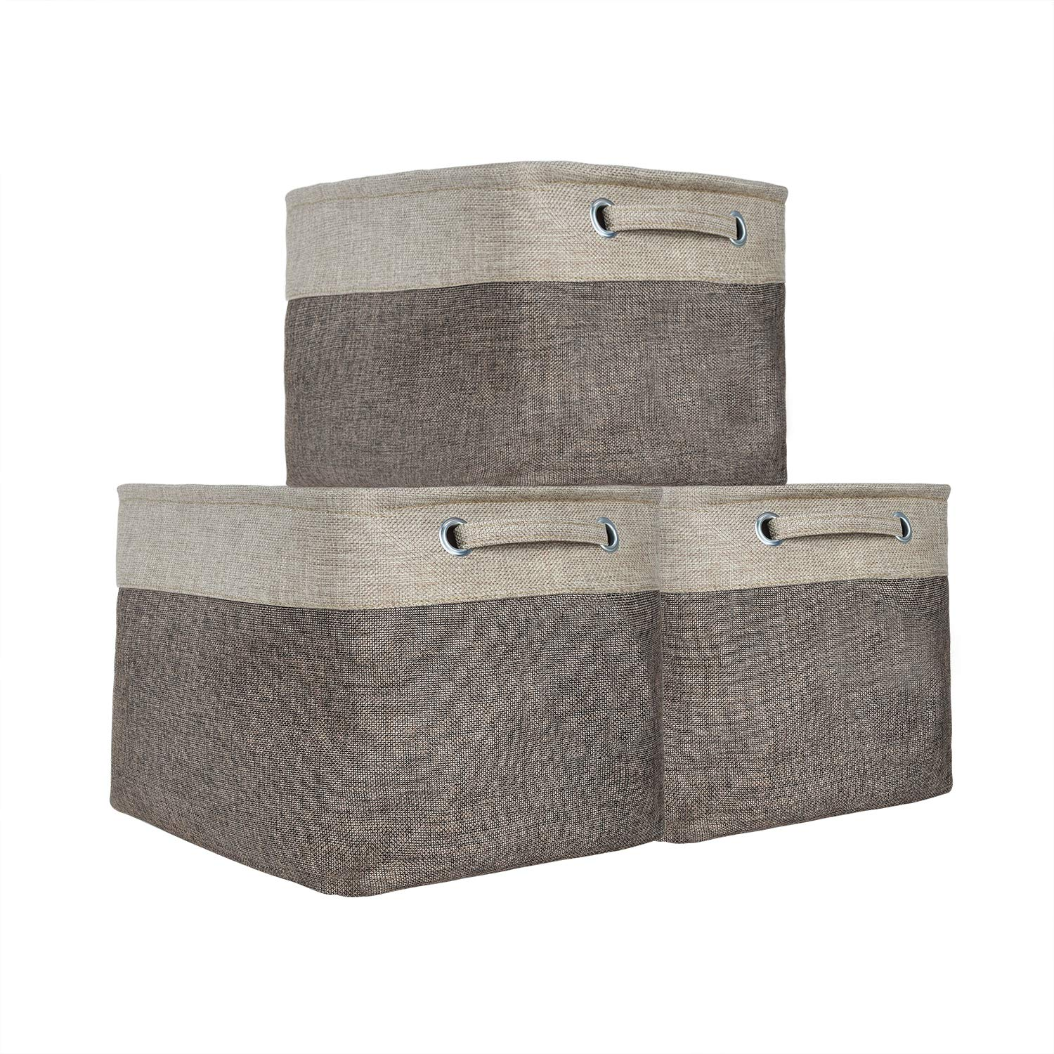 Expo Essential - 3 Pack -15''x11''x9'' Collapsible Storage Baskets Linen Bin Cube Foldable Toy Organizer, Bathroom Kitchen Fabric Storage with Handles