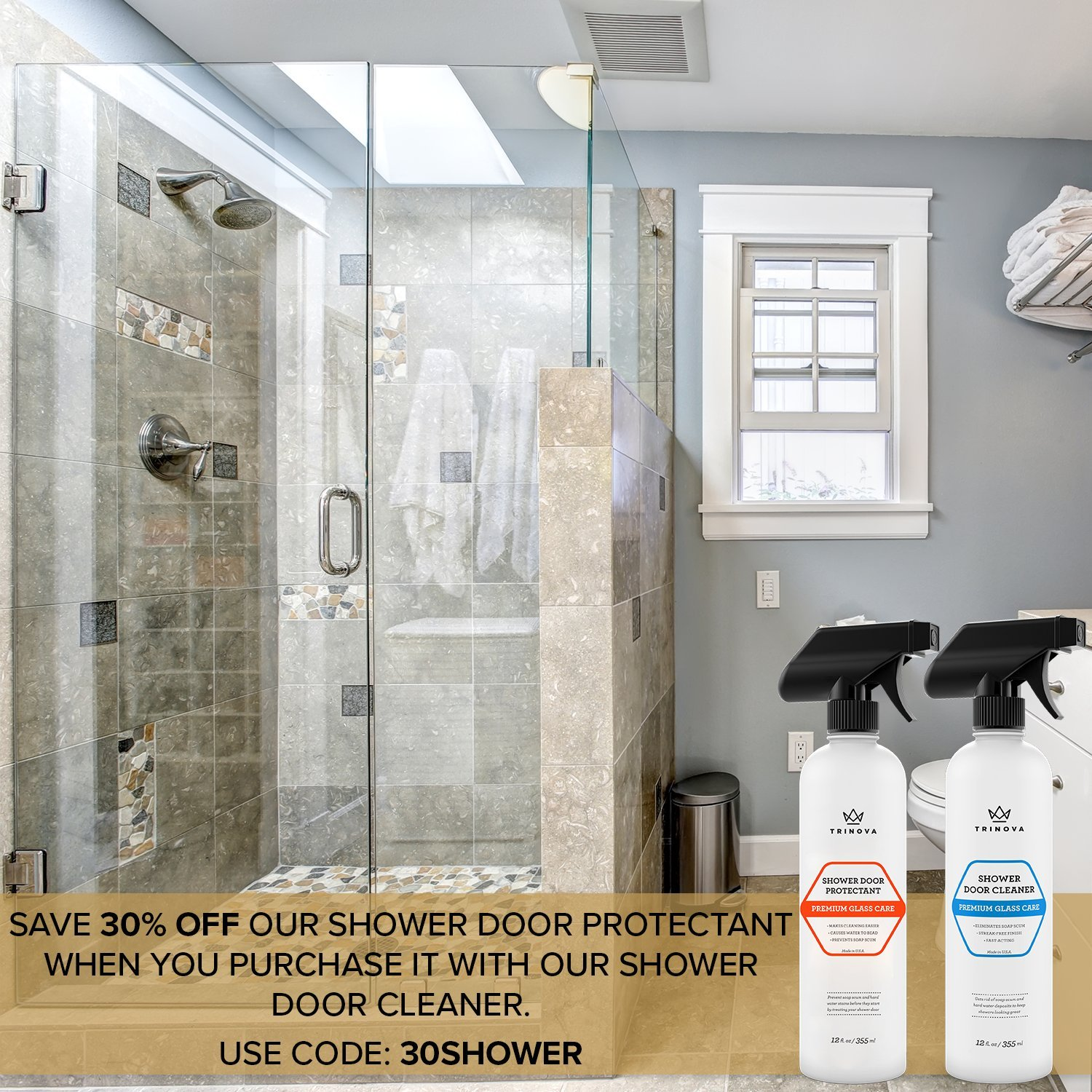 Com Shower Door Water Repellent Protects Glass From Soap Scum Mold Mildew Hydrophobic Protectant Makes Cleaning Easier And Keeps Surface Looking
