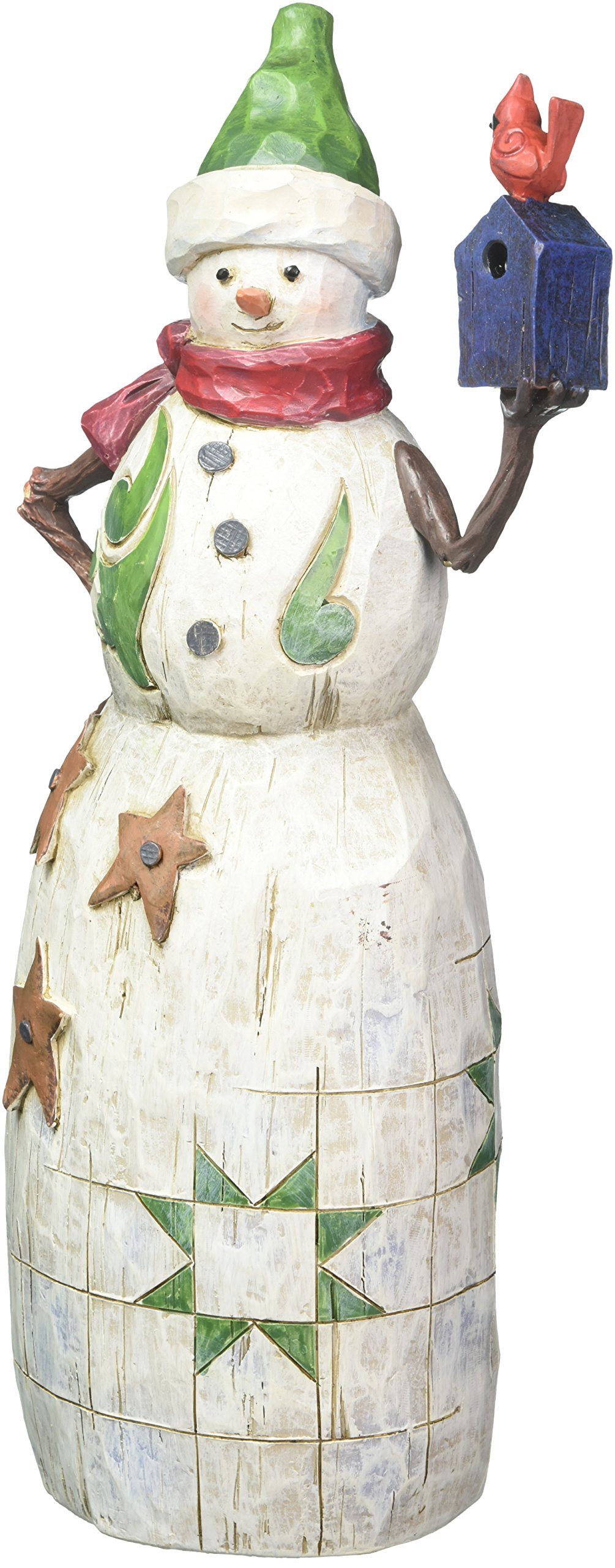Jim Shore 4058769 Folklore Snowman with Red Bird and Birdhouse Figurine
