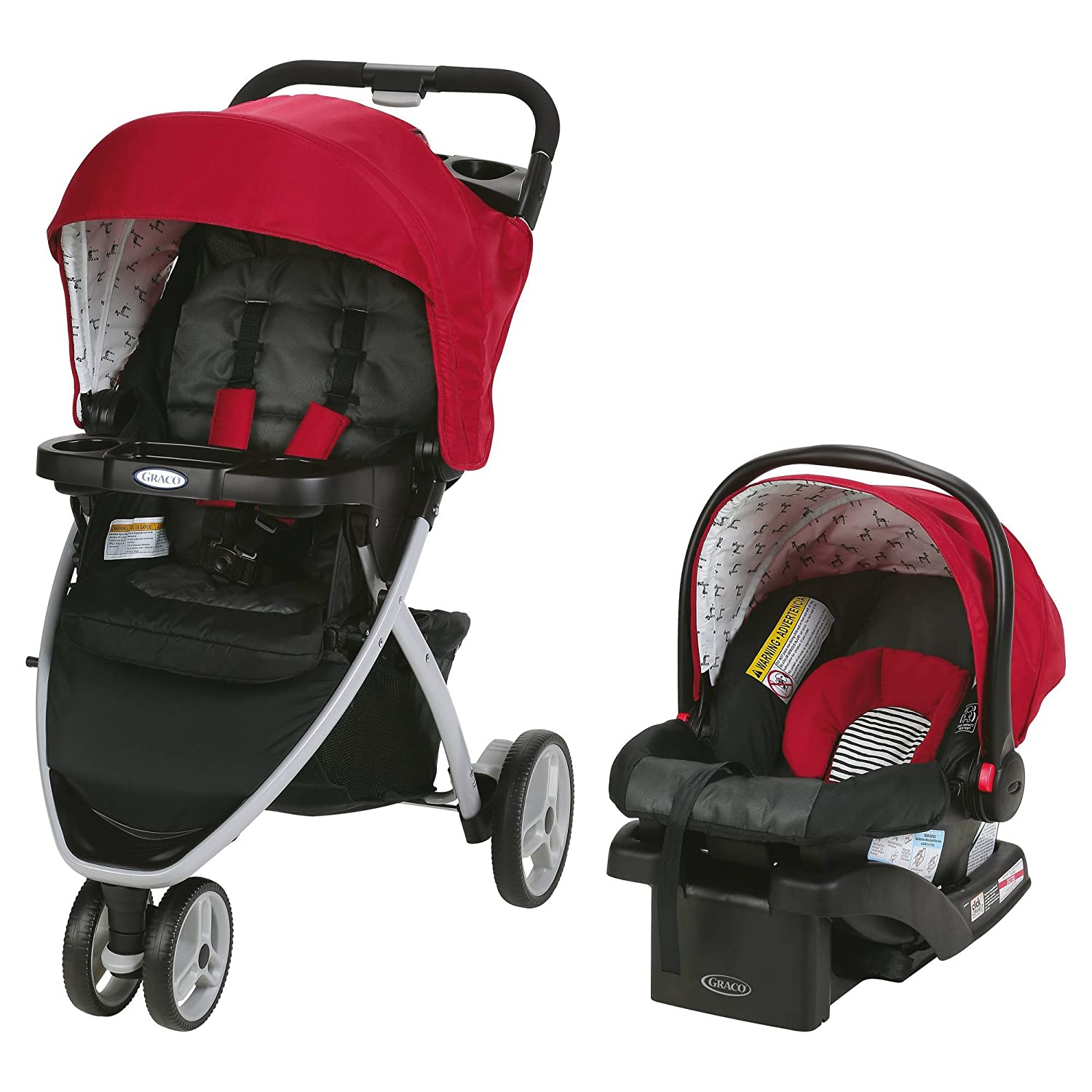7e3d6e60c Amazon.com : Baby Stroller and Car Seat Combo Premium Pram Travel System  Click N Connect Jogger in Modern Style FREE STROLLER HOOK CLIP (Red) : Baby