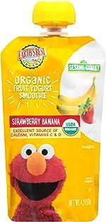 Earth's Best Organic Sesame Street Toddler Fruit Yogurt Smoothie, Strawberry Banana,