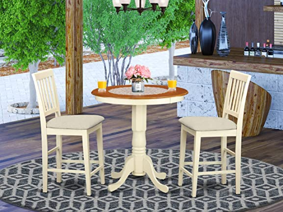 East West Furniture EDVN3-WHI-C Wooden Dining Set 3 Pc