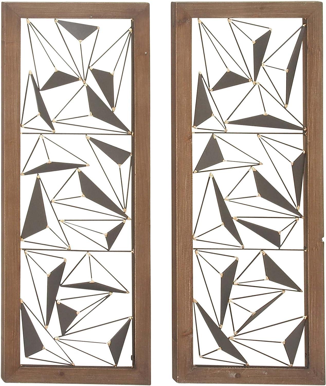 "Deco 79 22619 Rectangular Wood and Metal Wall Decor (Set of 2), 15"" x 39"", Brown/Black"