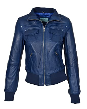 Ladies Bomber Real Leather Jacket Short Slim Fit Casual Blouson Motto Blue (X-Small