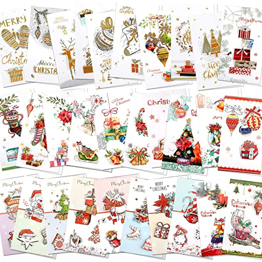 HOWAF 32 Tarjetas de Navidad, Tarjetas de felicitación Navidad ...