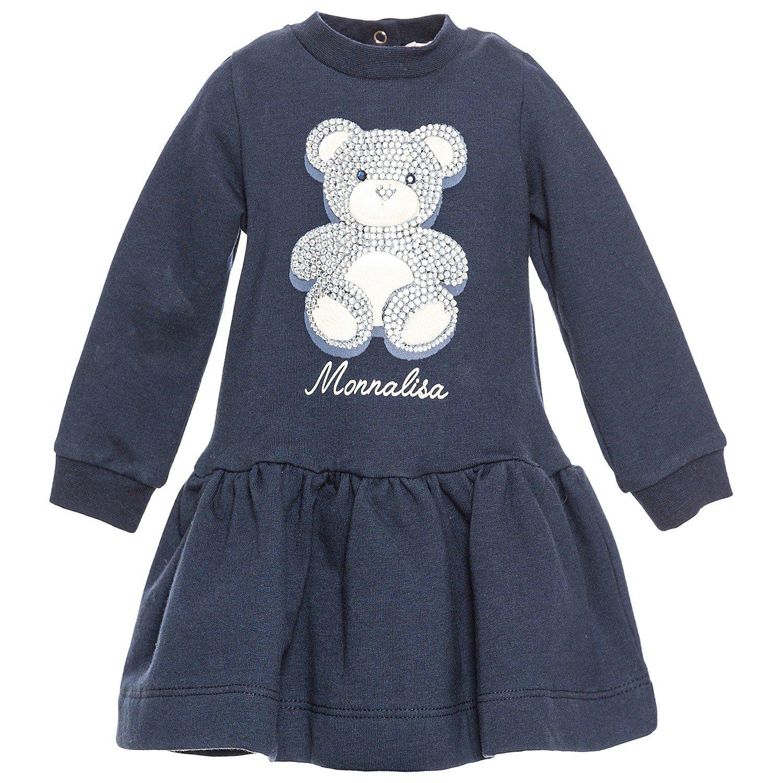 Monnalisa Vestito Bambina 390919P6 Blu Abito Autunno/Inverno 9 MESI