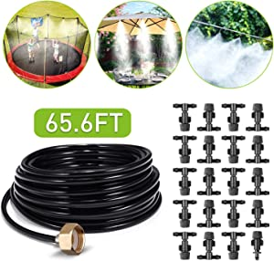 Misting Cooling System Outdoor Misters Automatic Plant Watering System 8x5MM 65.6FT (20M) Misting Line 20 Mist Nozzles 3/4 Inch Brass Threaded Adapter for Patio Garden Greenhouse Umbrellas Trampoline