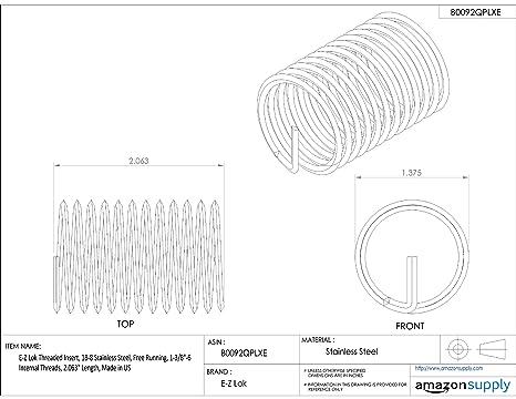 Helical E-Z Lok Threaded Insert 2.063 Length 1-3//8-6 Internal Threads 2.063 Length 22015 18-8 Stainless Steel 1-3//8-6 Internal Threads