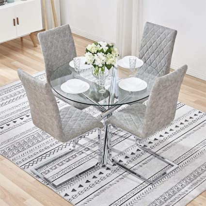 Gizza Transparent Round Glass Dining Table And 4 Distressed Leather Chairs Crisscrossing Legs Restaurant Kitchen Room Table Sets Furniture Table 4