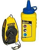 Stanley FatMax Schlagschnur Kompakt-Kit, 115 g blaue Kreide, 9m Schnurlänge, robustes Kunststoffgehäuse, STHT0-47244