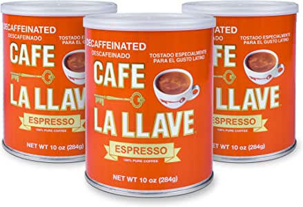 Café La Llave Decaf Espresso, 100% Pure Coffee, Dark Roast (3 x 10 Ounce cans)