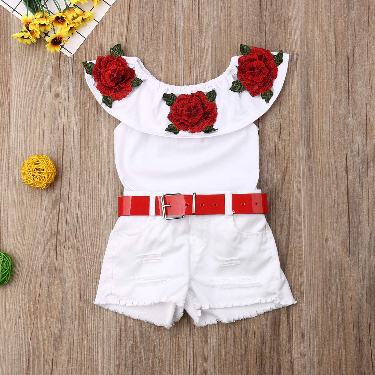 Toddler Kid Girl Fashion Summer Outfits Off Shoulder Rose Floral Ruffle Cotton Tops Waist Belt Shorts 1-7 Years