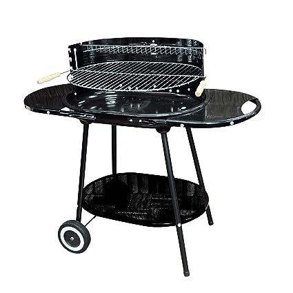 Kingfisher Martín pescador BBQ5 Oval Acero con ruedas para barbacoa, color negro