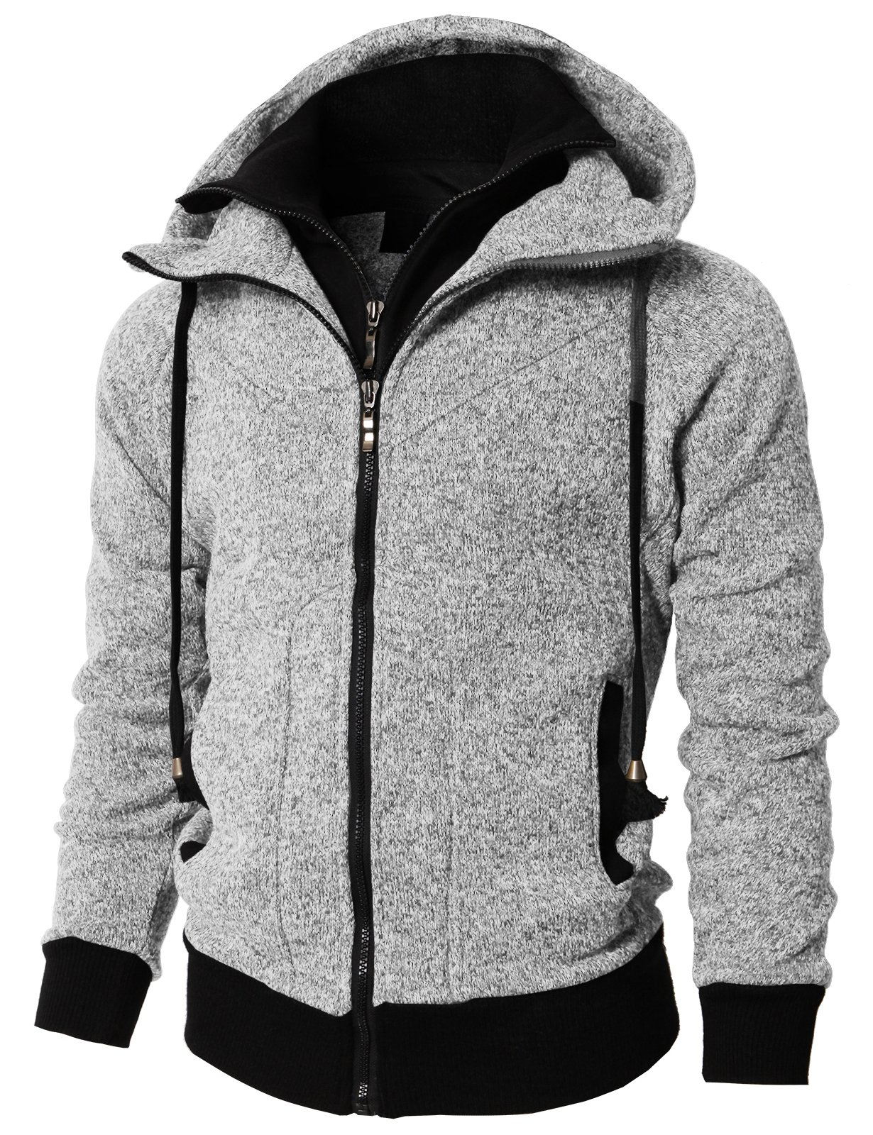 H2H Mens Active Casual Fleece Lining Double Zip Pullover Hoodie Jacket Gray US L/Asia XL (KMOHOL0128)