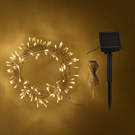 quality design 9f28d f9dab Lights4fun 200 Warm White LED Solar Powered Garden Fairy Lights on Clear  Cable by