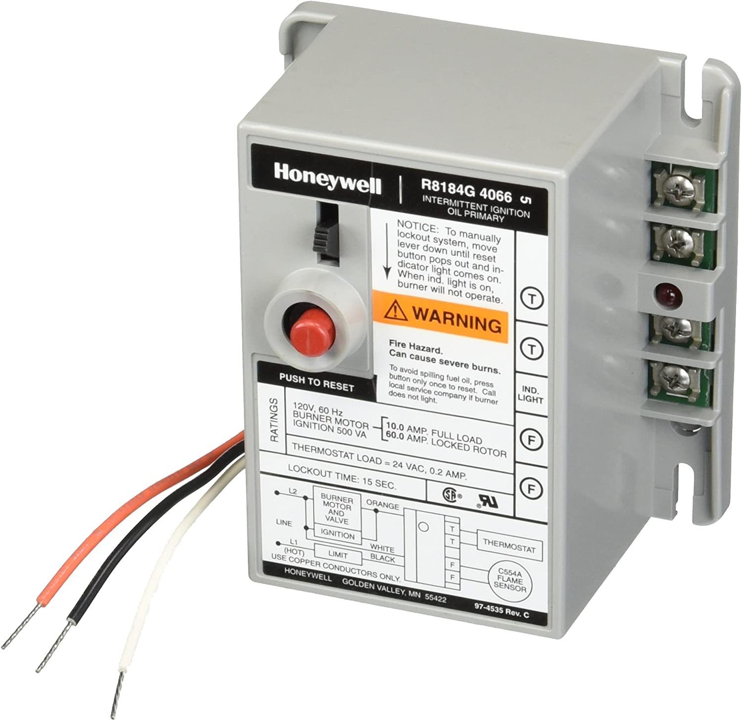 Alarm Outputs and Manual Safety Switch Honeywell R8184G-4066 Protectorelay Oil Burner Control with 15 s Safety Timing