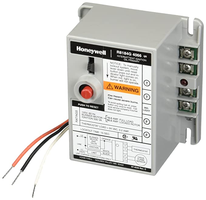 Honeywell R8184G-4066 Protectorelay Oil Burner Control with 15 s Safety Timing, Alarm Outputs and Manual Safety Switch