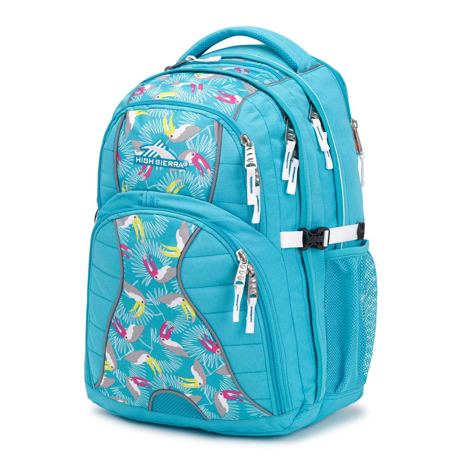 High Sierra Swerve Laptop Backpack, 17-inch Laptop Backpack for High School or College (Tropic Teal/Toucan/White) by High Sierra