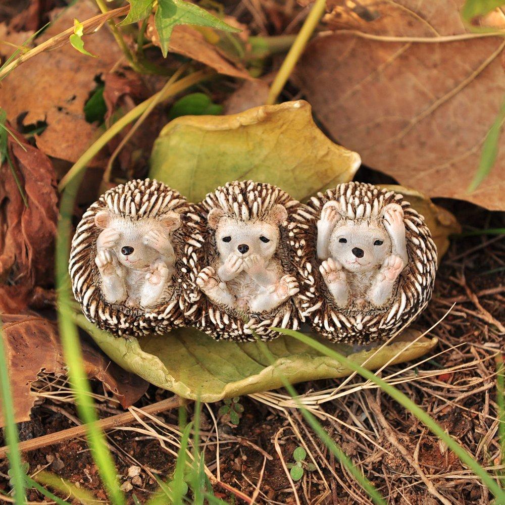 Top Collection Miniature Fairy Garden and Terrarium Three No Evils Baby Hedgehogs Statue