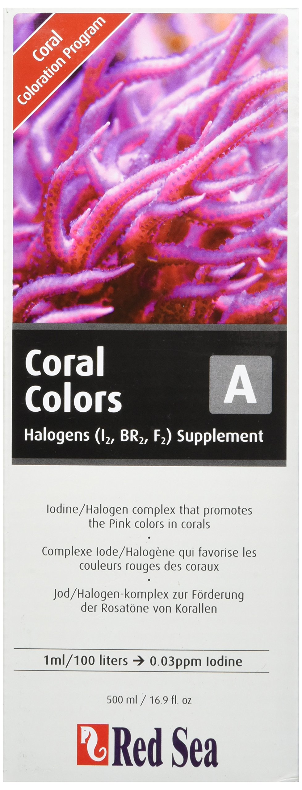 Red Sea Fish Pharm ARE22043 Reef Colors Iodine/Halogens Supplement-A for Aquarium, 500ml