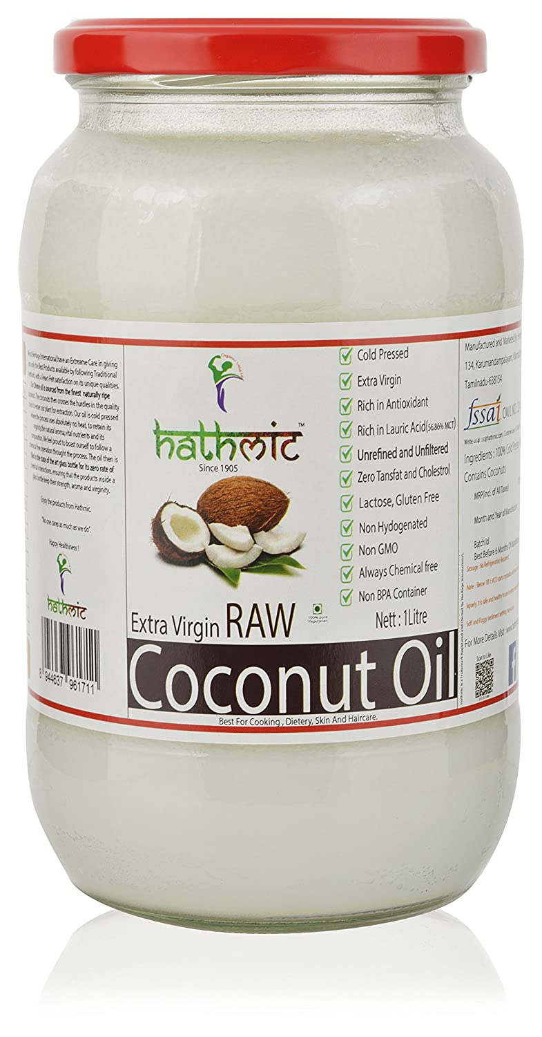 Hathmic Raw Extra Virgin Cold Pressed Coconut Oil, 1l