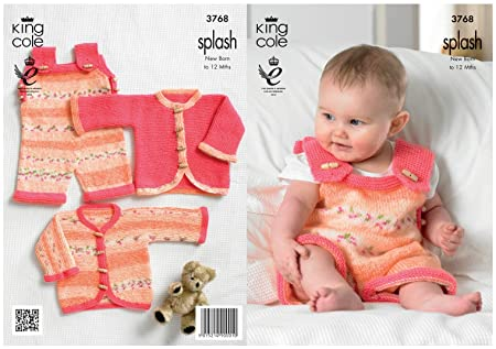 033a41942 King Cole Double Knitting Pattern Splash DK Baby Set Knitted ...