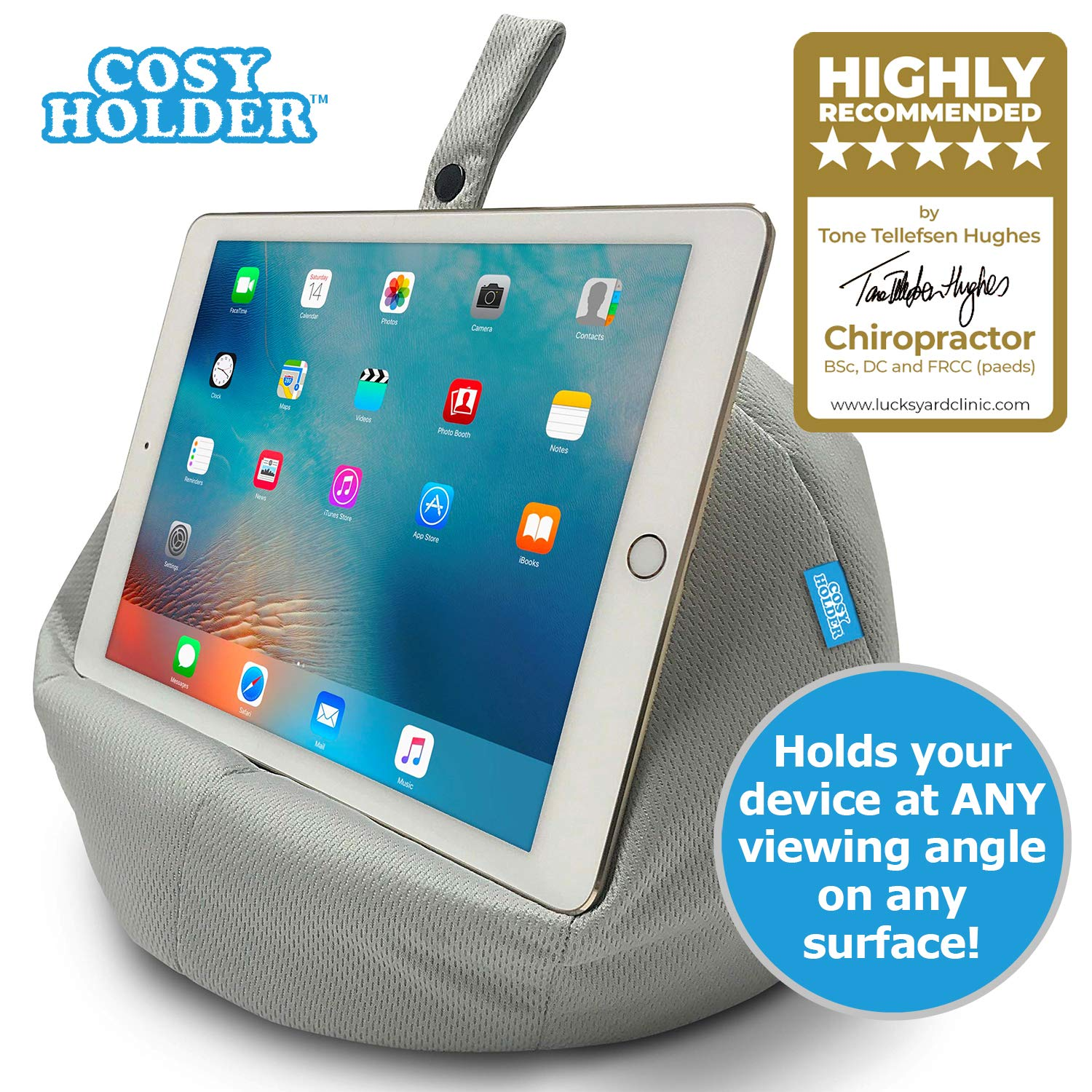 COSY HOLDER Pumpkin Beanbag Cushion - Tablet & E-Reader (eBook) Holder/Stand. Ideal for iPad, Samsung Galaxy, Kindle & Books. Holds Your Device at Any Viewing Angle. Ideal for Home or Travel (Grey)