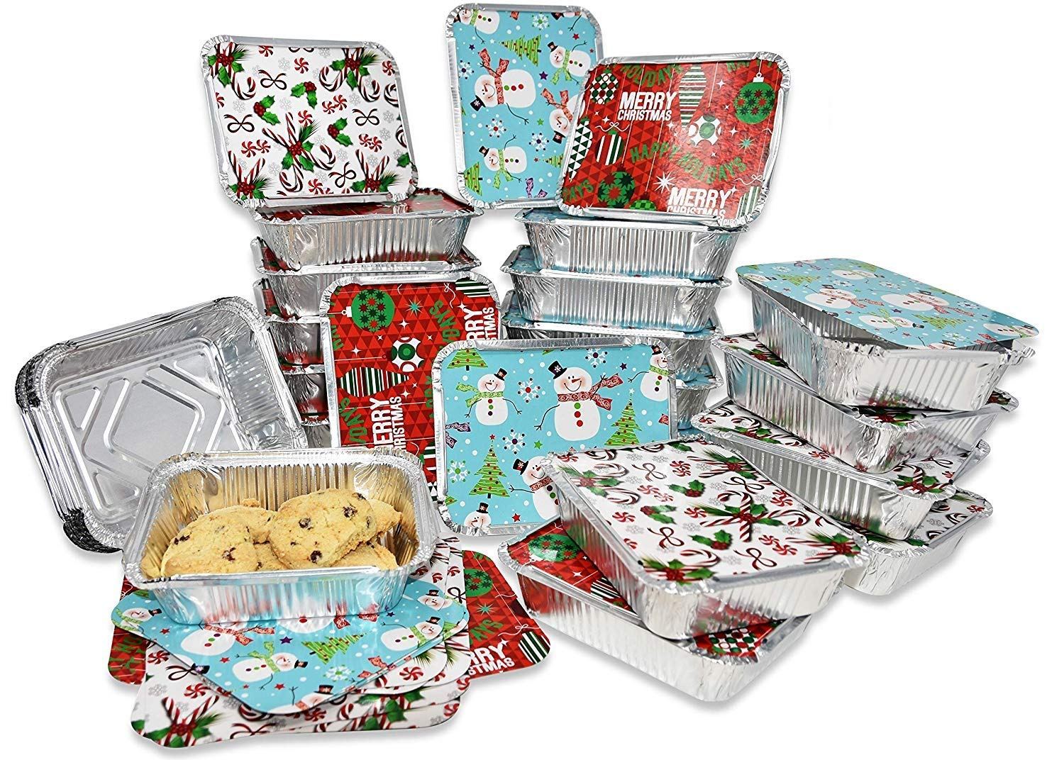 "Gift Boutique 36 Count Christmas Tin Foil Containers with Lid Covers For Cookies in 4 Holiday Designs Aluminum Disposable Food Storage Pans For Treat Exchange & Goodie Party Leftovers 5""W X 7""L X 1.5"""