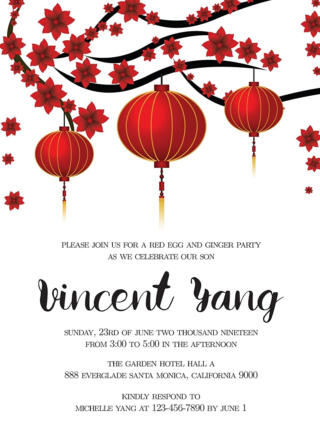 Amazon.com: Red Egg and Ginger Party Invitation Cards, Custom Party ...