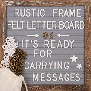 Awefrank Felt Letter Board 10x10 inches with Rustic Wood Frame, Precut Letters, Symbols, Cursive Words, Farmhouse Wall Decor, 2 Letter Bags, Vintage Stand, Gray Felt Message Board
