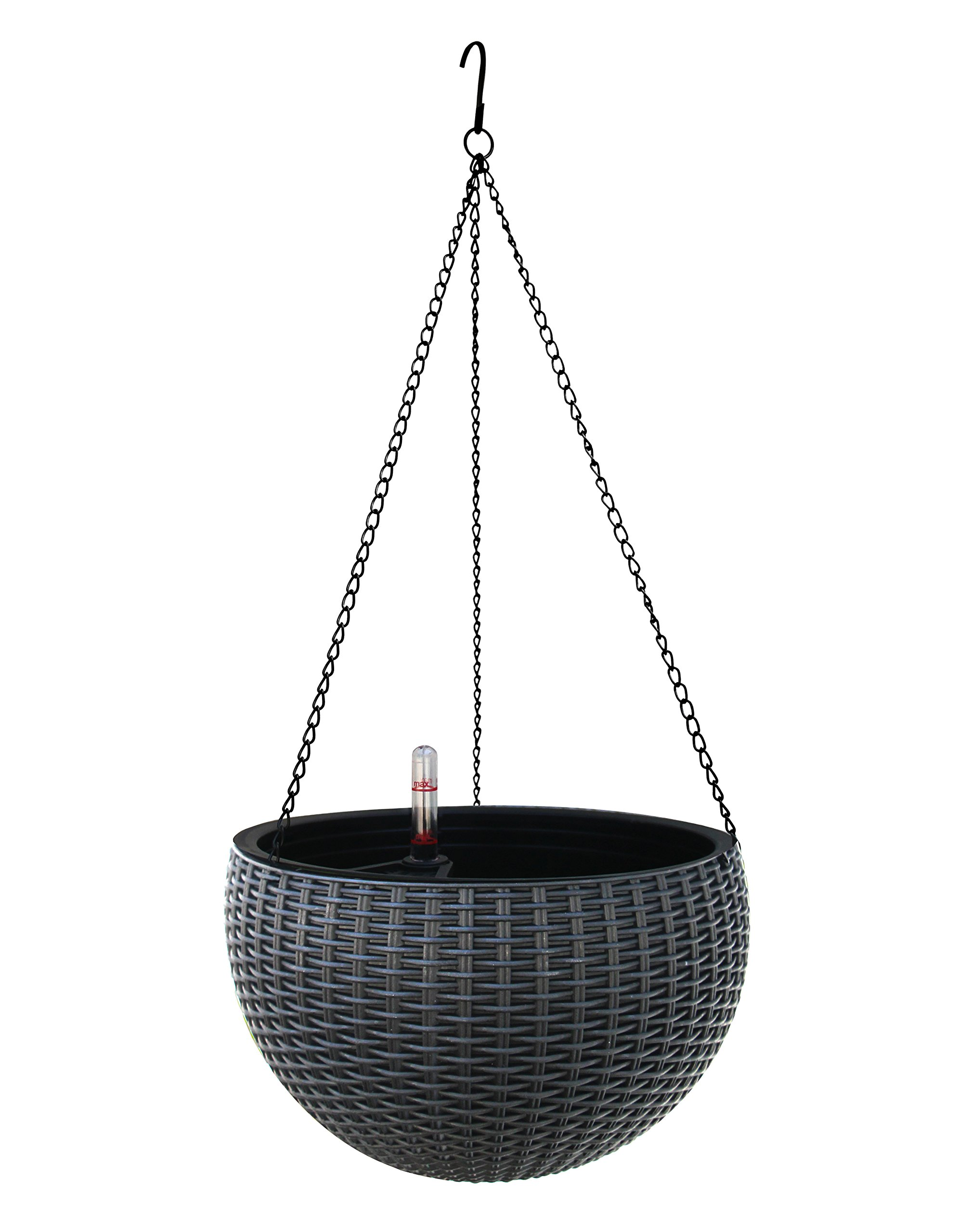 TABOR TOOLS TB707A Hanging Planter for Outdoor and Indoor Use, Elegant Round Plastic Wicker-Design Chain Basket for Flowers and Plants, Self-Watering with Water Level Indicator Gauge (Grey)