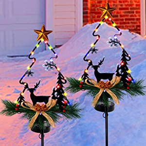 MAGGIFT Christmas Outdoor Solar Stake Lights, 47.5 Inch Large Solar Powered Yard Decorations, Multicolor Copper Wire LED Xmas Pathway Lights, Metal Snowman & Tree Garden Stakes Lawn Ornament, Set of 2
