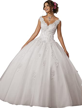 ZhixingKJ Womens V Neck Lace Appliques Puffy Ball Gown Sweet 16 Quinceanera Dresses Lace up Back