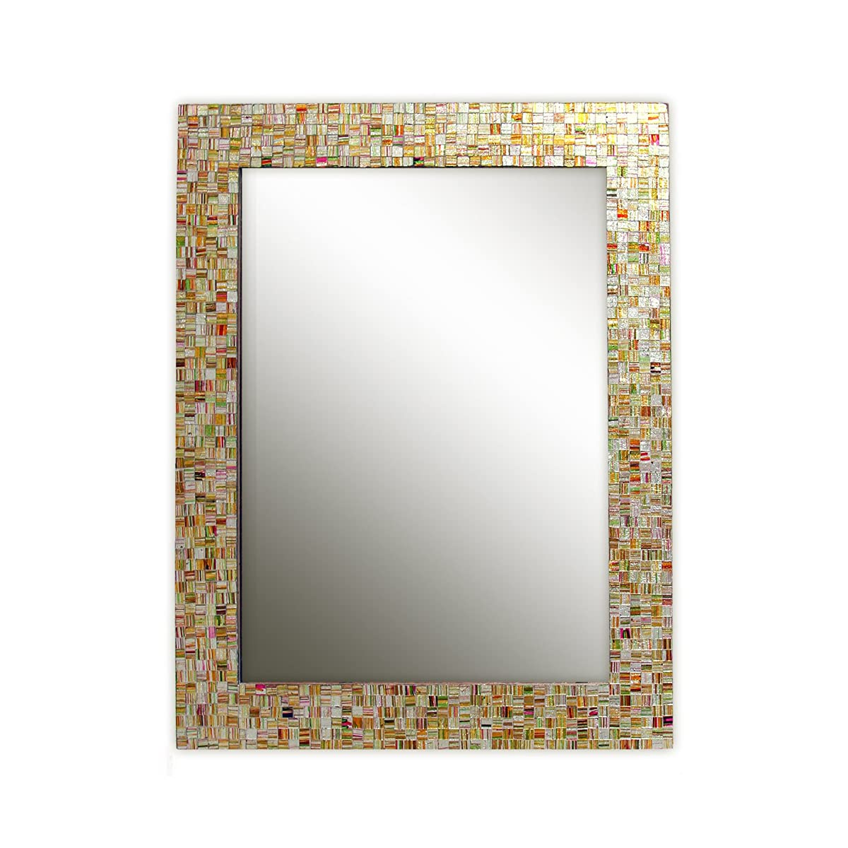 """Eclectic Bohemian Rhapsody Rainbow Mirror -Golden Striped Glass Mosaic Tile Framed Decorative Wall Mirror, Hard Candy Look Bright Colors, Wall Mountable, 30"""" x 24"""" Rectangle Framed Mirror"""