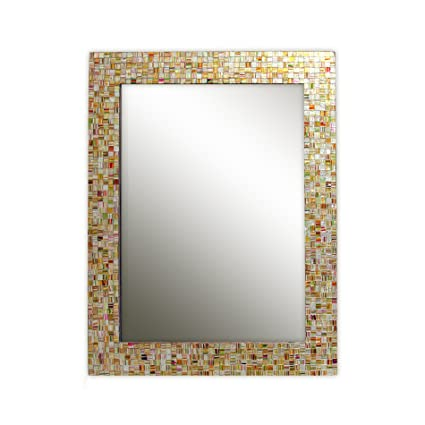 decorative framed mirrors entryway eclectic bohemian rhapsody rainbow mirror golden striped glass mosaic tile framed decorative wall mirror amazoncom
