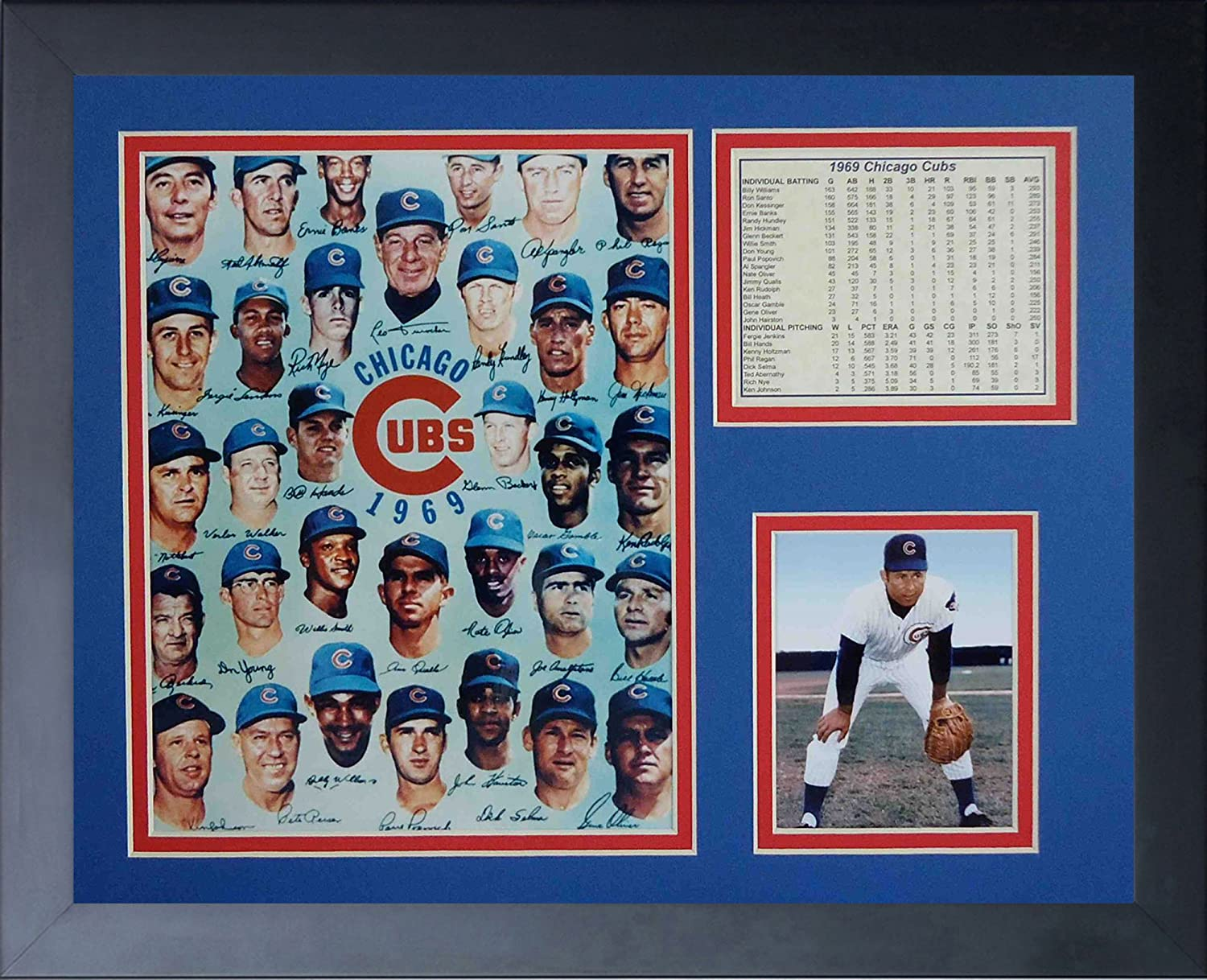 11x14-Inch Legends Never Die 1969 Chicago Cubs Framed Photo Collage