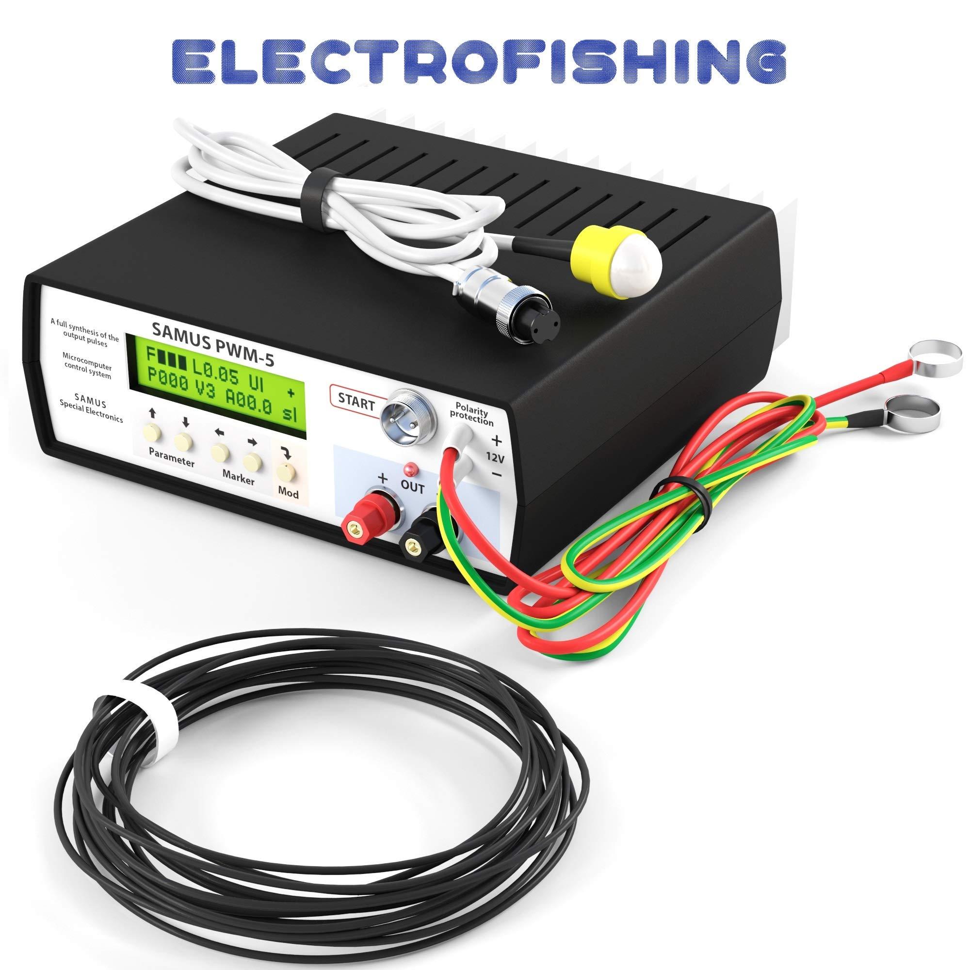 S1000 Fish Shocker Stunner - Freshwater Electro Fisher Professional Fishing Equipment with Catfish and carp Mode Inverter PWM-5 12V