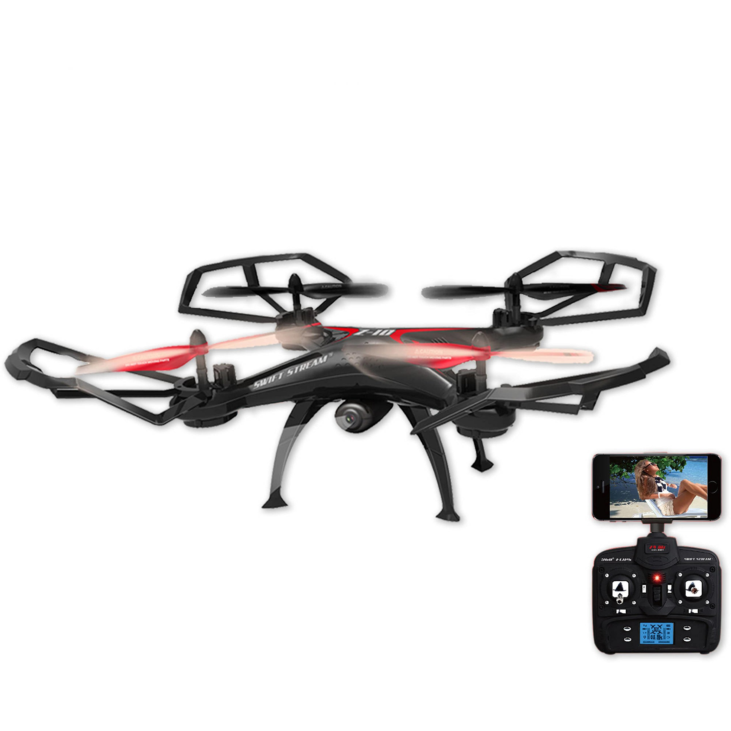 5-Channel Control 2.4GHz Remote Control Quadcopter Drone with Wifi Camera by Z-10 Black
