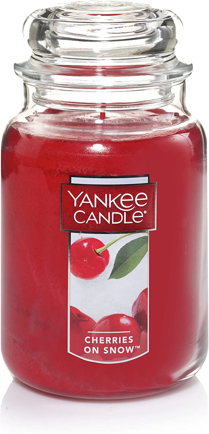 Yankee Candle Cherries on Snow Scented Premium Paraffin Grade Candle Wax with up to 150 Hour Burn Time, Large Jar