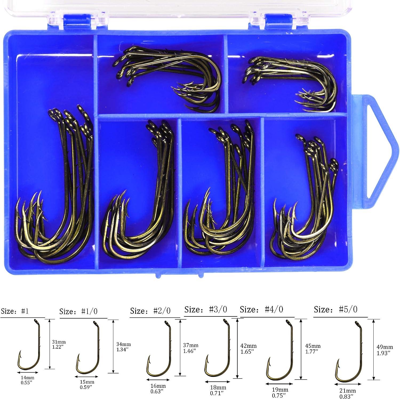 THKFISH 60pcs//box Baitholder Hooks Brown Down Eye Sharp Barbed Fishing Hooks Octopus Jig Fish Hooks#1 1//0 2//0 3//0 4//0 5//0