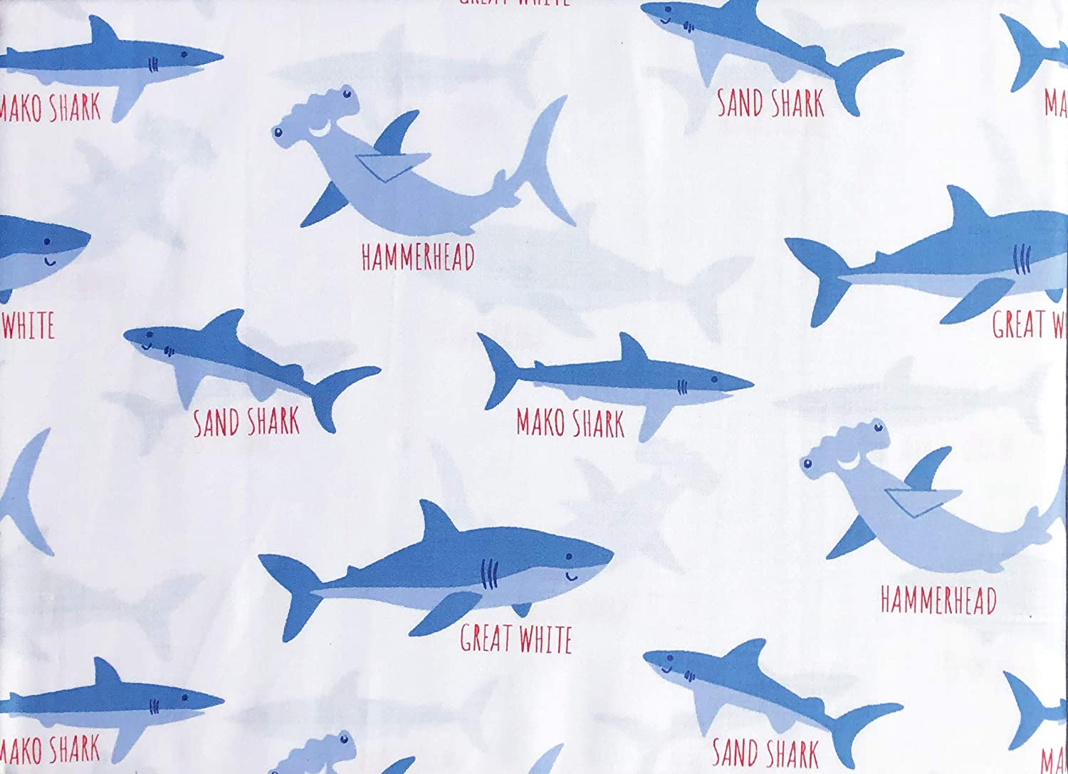 Authentic Kids 3pc Sheet Set Blue Sharks with Names Hammerhead Great White Sand Shark on White (Twin)