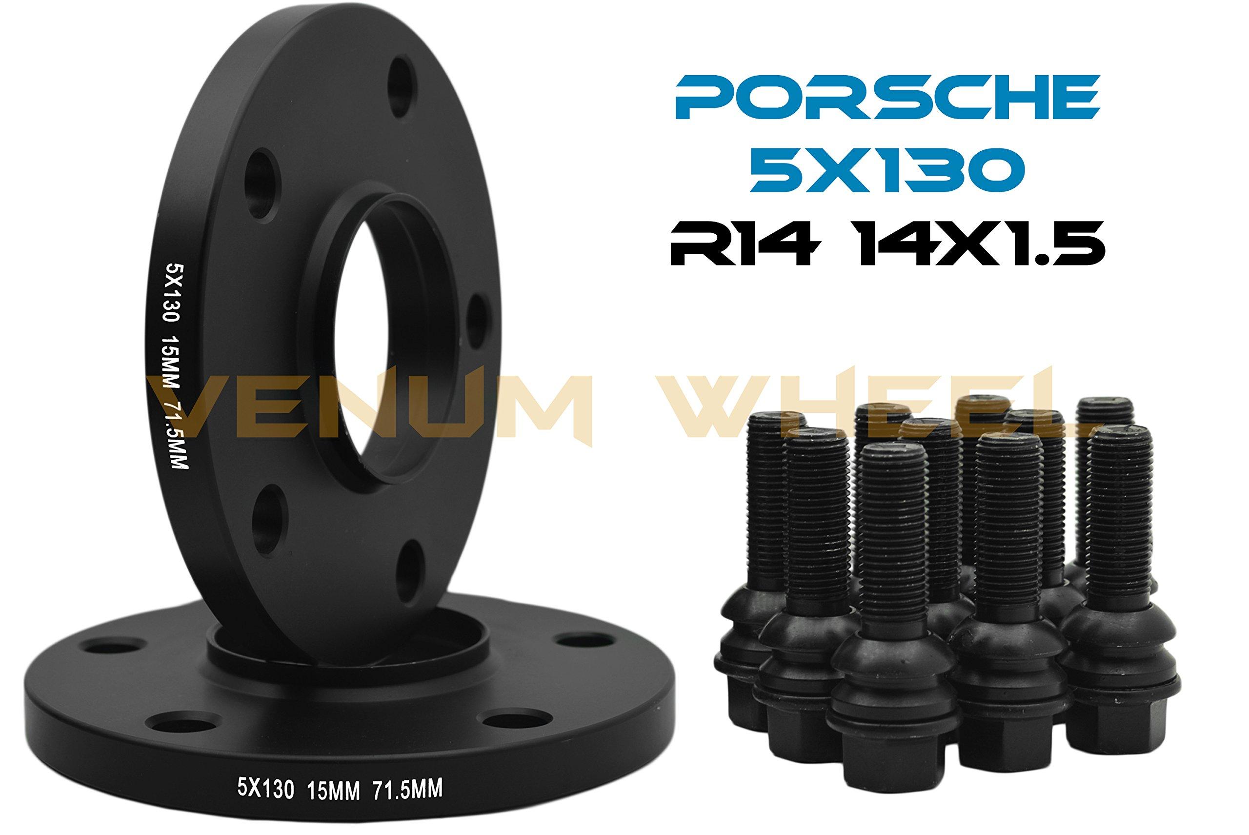 2 Pc Black Porsche Wheel Spacers   Hub Centric   15 mm Thick   5x130 mm 71.5 H.B Fits Porsche 911 924 928 Boxter Cayman Panamera