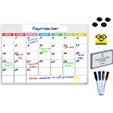 Magnetic Calendar | Dry Erase Monthly Whiteboard Calendar or Event Reminder With Magnetic Eraser, 4 Magnetic Markers, 4 Buttons, 100 Video Recipes. Perfect Large Daily Planner Board For Busy Families