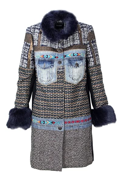 Desigual CAPPOTTO DONNA ABRIG SABRINA 18WWEWA3 38 (s) denim  Amazon.it   Abbigliamento 5da1b803fbd
