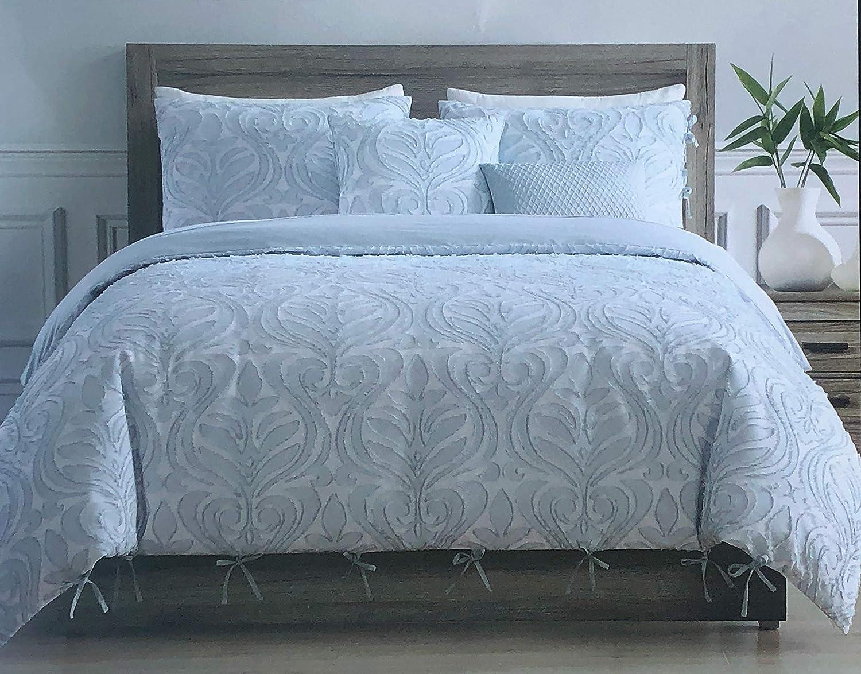 Tahari Home Maison Bedding King Size Luxury 3 Piece Duvet Comforter Cover Set Textured Woven Cotton Clip Jacquard Modern Abstract Pattern Darker Blue Thread on Lighter Blue - Zaha, Blue
