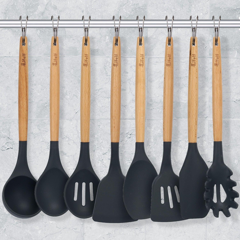 9-Piece Silicone Cooking Utensils Set, Lifelf Premium Non-Stick Heat Resistant Kitchen Utensils Set with Wooden Handles for Cooking Baking BBQ,BPA Free (Dark Gray) by Lifelf (Image #4)