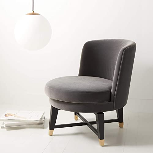 Safavieh Couture Collection Trinity Charcoal Grey Velvet Swivel Accent Chair